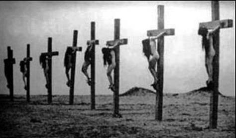 Crucified  Christian girls, Turkish Armenian Christian genocide, 1915