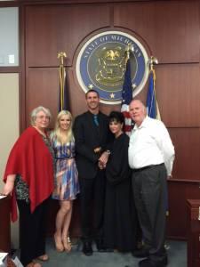The whole family - mom Diane, fiancee Tanya, Kurt, Judge Aquilina, and me.
