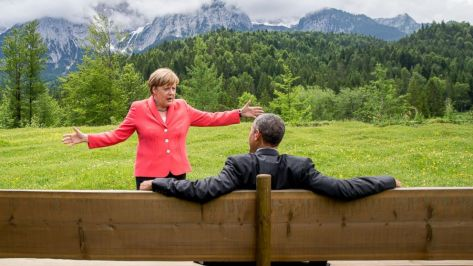 German Chancellor Angela Merkel with US President Barack Obama outside the Elmau castle in Kruen near Garmisch-Partenkirchen, Germany, on Monday.
