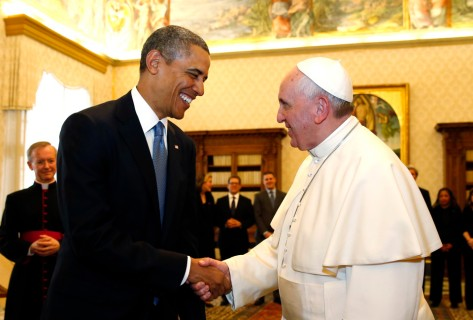 U.S. President Barack Obama shakes hands with Pope Francis (R) during their meeting at the Vatican March 27, 2014. Obama's first meeting on Thursday with Pope Francis was expected to focus on the fight against poverty and skirt moral controversies over abortion and gay rights.