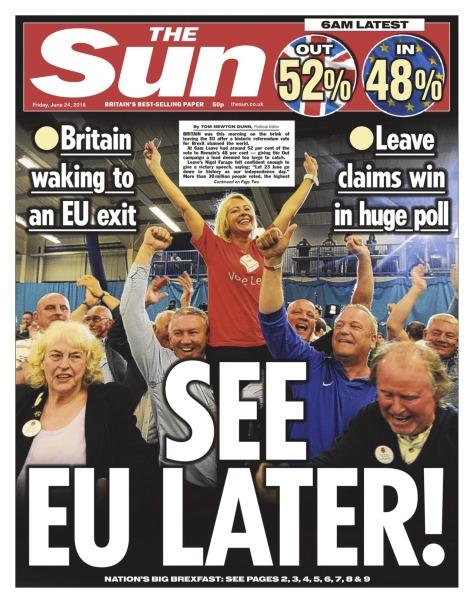 Sun headlines BREXIT