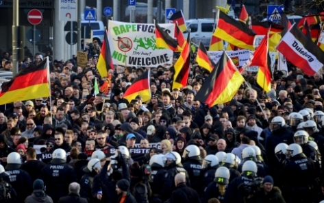 Anti-refugee demonstrations in Cologne, Germany.